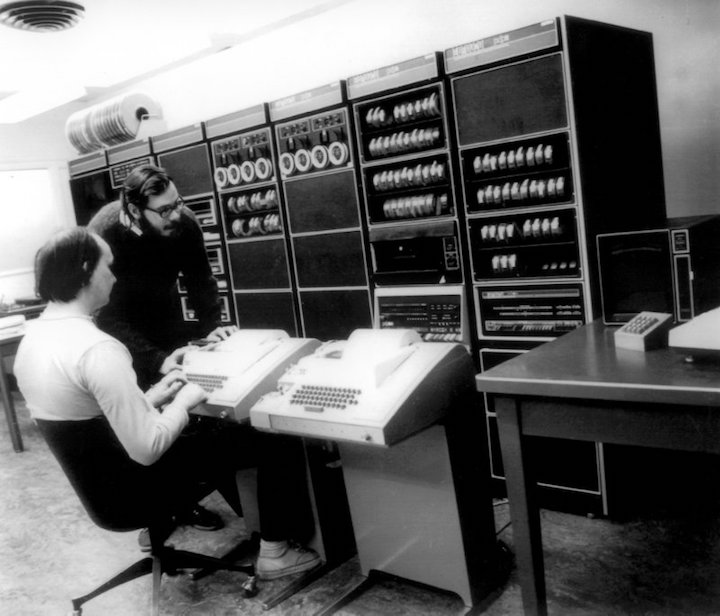 Denis Ritchie, inventor of Unix, using a Teletype with a DEC PDP 11